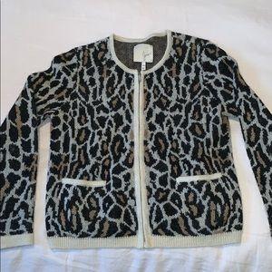 Joie leopard print zip front sweater